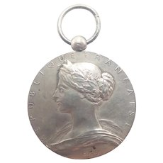 French 1900 Silver Marianne Fire Fighters Medal Pendant - O ROTY
