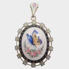 French Victorian Enamel Butterfly Locket Back Pendant