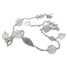 Sterling Silver and Gemstone Hearts and Flowers Necklace