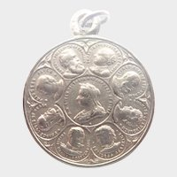 English Queen Victoria and Edward V11 Silver Medal Charm