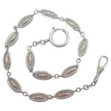 French Antique Silver Rose Gold Vermeil Watch Chain Bracelet