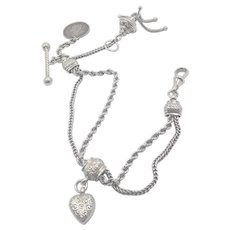 Victorian Sterling Silver Coin, Heart and Tassel Albertina Bracelet