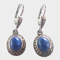 French Lapis and Marcasite Lever Back Earrings