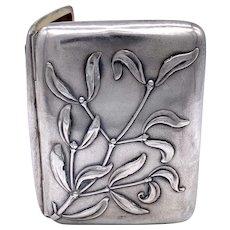 French Art Nouveau Silver Mistletoe Cigarette/Card Case