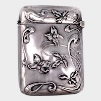 French Art Nouveau Silver Violets Vesta Match Safe