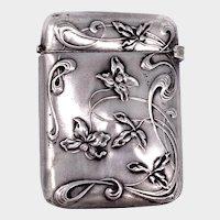 French Art Nouveau Silver Violets Vesta Match Safe