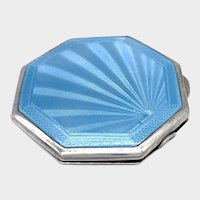 English 1941 Sterling Silver Enamel Compact - B&Co