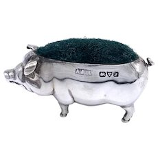 English 1918 Sterling Pig Pin Cushion -Adie & Lovekin