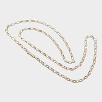 """Victorian 9K Gold Engraved Chain Necklace - 21"""" - 7.9 grams"""