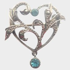 French Art Nouveau Silver Marcasites and Aqua Pastes Heart Pin