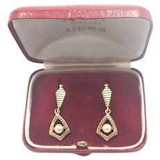 French Art Deco 18K Gold and Genuine Pearl Swing Earrings