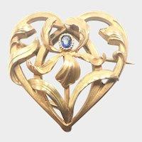 French Art Nouveau Gold Filled Heart Iris Pin- TITRE FIXE