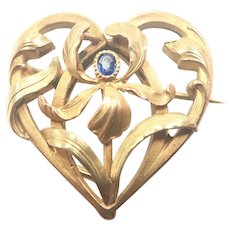 French Art Nouveau Gold Filled Heart Iris Pin- TITRE FIXE