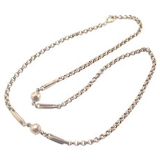 Victorian 9K Gold Decorative Belcher Chain Necklace