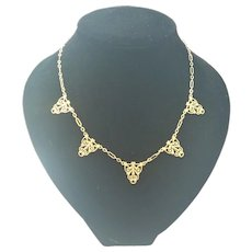 French Art Deco Style Gold Plated Decorative Necklace