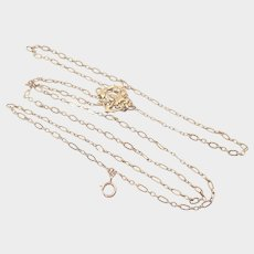 French Art Nouveau Gold Filled 'FIX' Sautoir Chain with Carnation Clip