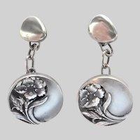 French Art Nouveau Silver Poppy Cufflinks