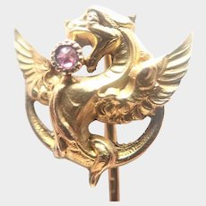 French Art Nouveau Gold Filled Spinel Griffin Stick Pin - ORIA