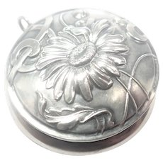 French Art Nouveau Silver Daisy Box Pendant