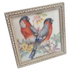 Limoges Ceramic Birds Plaque Framed in Denmark