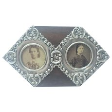English Late Victorian Double Silver Frames on Wooden Stand