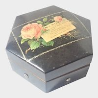 Victorian Birthday Message Rose Sewing Box and Contents