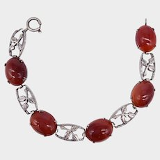 Carnelian Agate and Silver Silver Leaves Bracelet