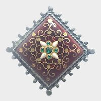 French Antique Bressans Silver Enamel Pin
