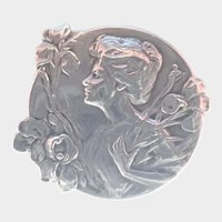 French Art Nouveau Lady with Iris Silver Pin - E DROPSY