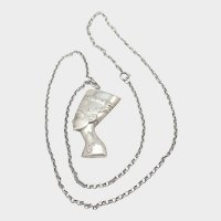 Nefertiti Silver Pendant and Long Belcher Chain