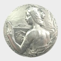 French Antique 950 Silver St. Cecelia Medal/Pin  - F RASUMNY