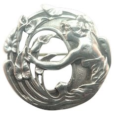 French Art Nouveau Silver Lady and Lilies Pin