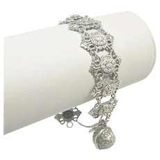 French Napoleon 111 Silver 'Star' Bracelet with Ball Charm