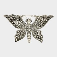 Vintage Sterling Silver and Marcasite Butterfly PIn