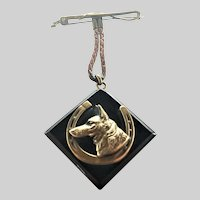 Art Deco Dog's Head Horseshoe Pin - Charles Horner?