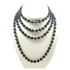 French Jet Long Faceted Bead Necklace - 61""