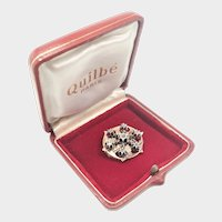 French 14K and White Sapphires Galleried Star Pin - Boxed