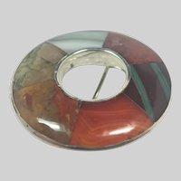 Scottish Victorian Silver Agate  Sampler Pin