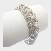 French Antique Silver Snakeskin Engraved Bracelet
