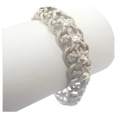 French Antique Silver Snakeskin Engraved Bracelet