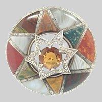 Victorian Scottish Silver Citrine and Agates Star Plaid Brooch