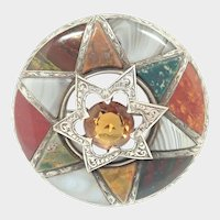 Victorian Scottish Silver Citrine and Agates Star Plaid Brooch