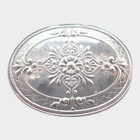 French Antique Repoussé Silver Plated Pill or Snuff Box