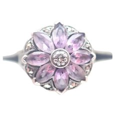 French Art Deco Silver Amethyst and Marcasite Ring