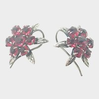 French Art Deco Silver and Paste Floral Earrings - Pierced Ears