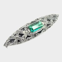 French Art Deco Silver Paste and Enamel Pin