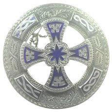 Scottish Victorian Large Silver and Enamel Plaid or Wrap Pin