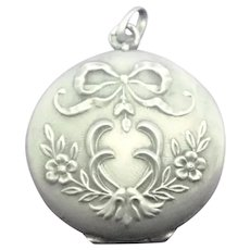French Art Nouveau Silver Bow and Flowers Locket