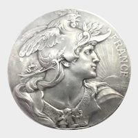 French Art Nouveau Marianne Silvered Bronze Medal - L Bottée