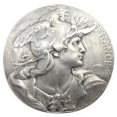 French Art Nouveau Marianne Silvered Bronze Medal - L Bottée
